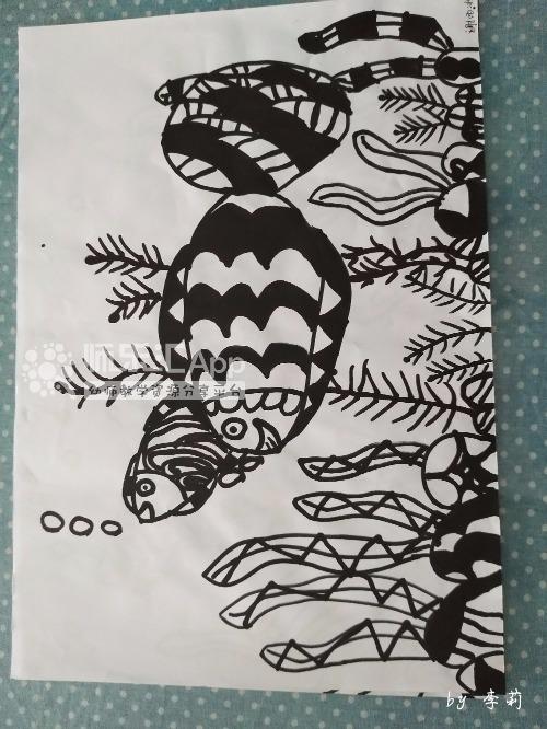 幼儿园简笔画绘画幼儿美术作品黑白线条——师乐汇