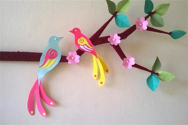 墻面環創手工:花枝上的鳥兒