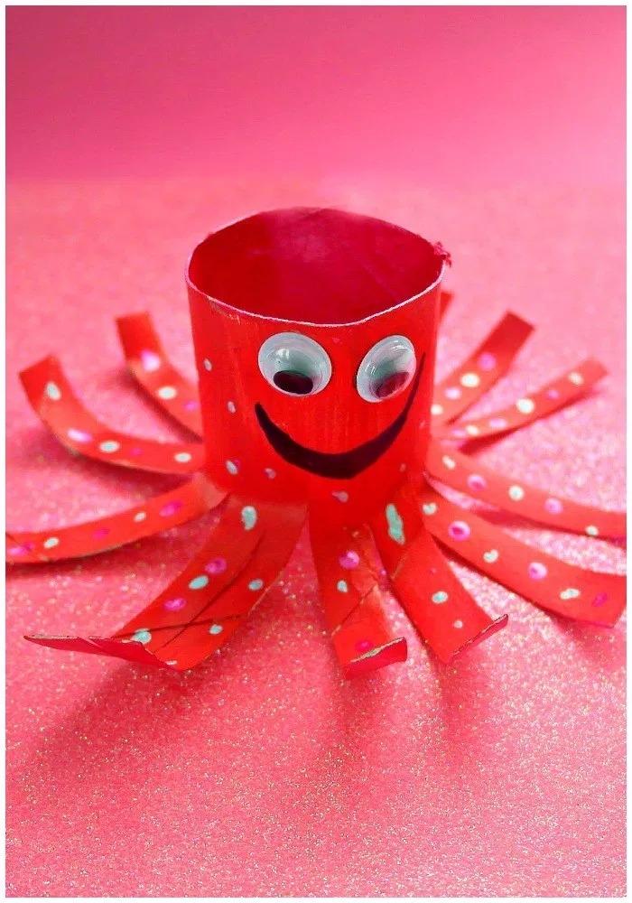 卷纸芯手工:海洋小动物章鱼