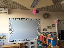 青花瓷样式的美工区主题墙。
