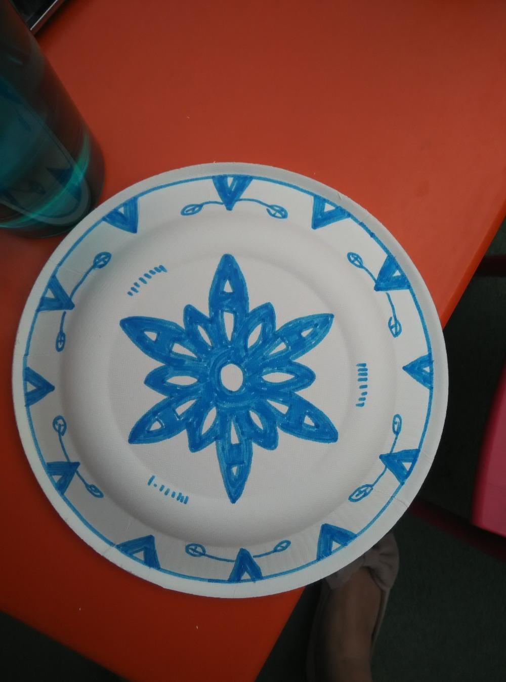 為六一做的道具,青花瓷盤子