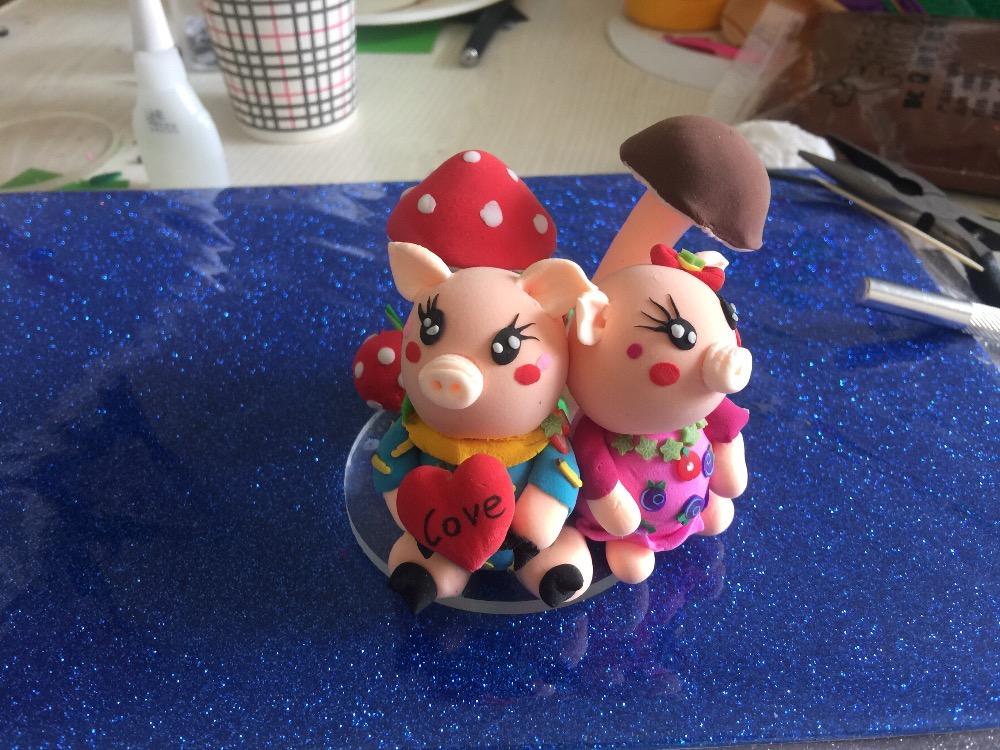 超輕粘土可愛的小豬