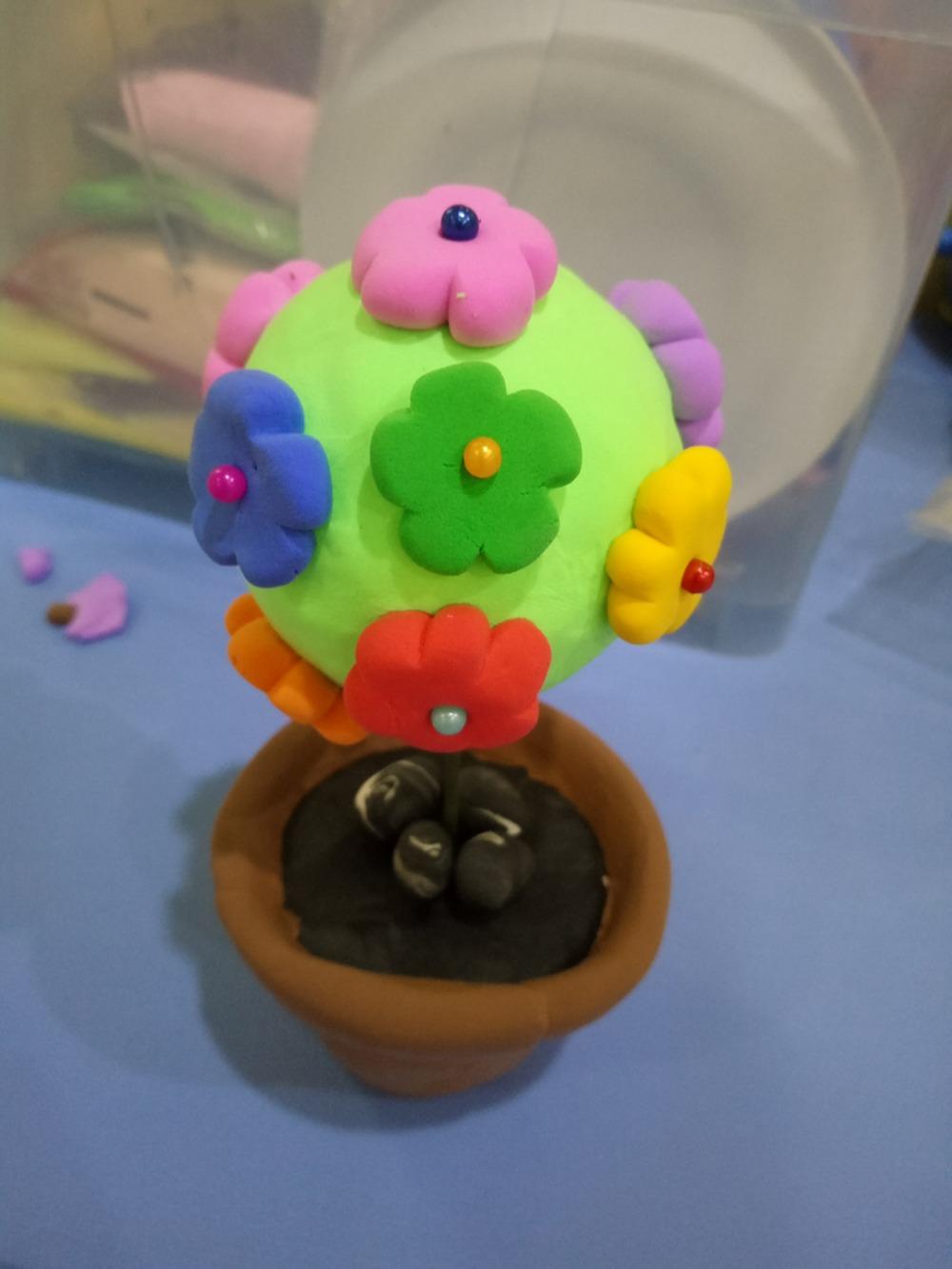 超轻粘土制作花球盆栽