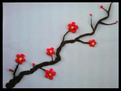彩泥制作梅花