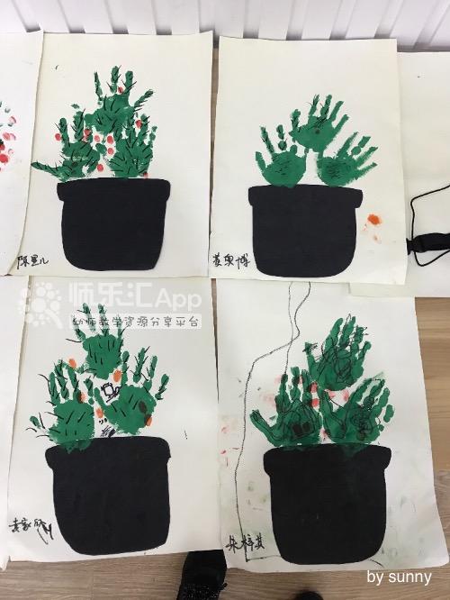 幼儿园游戏方案_幼儿园手印画绘画仙人掌——师乐汇幼儿教师教育网