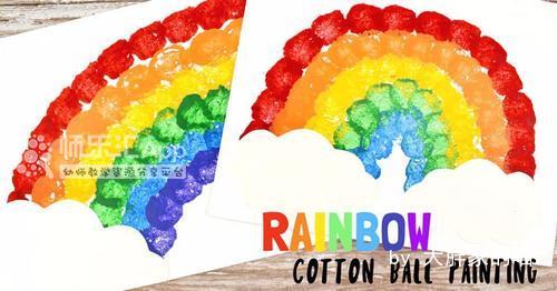 棉球印拓画:彩虹