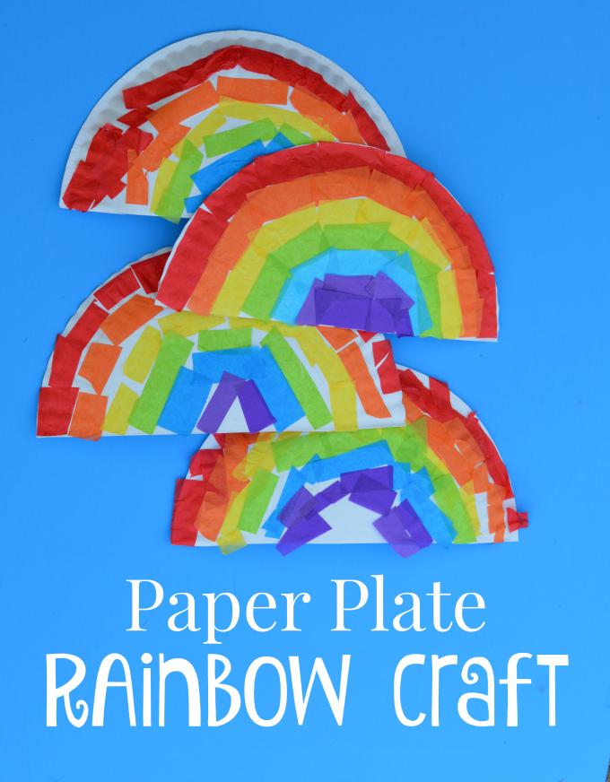彩虹纸盘黏贴手工