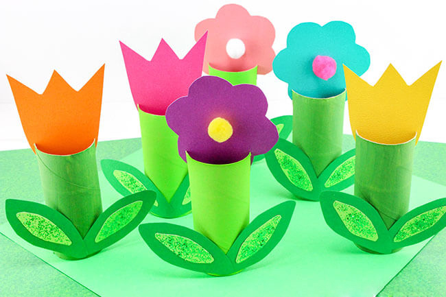 卷纸芯花朵