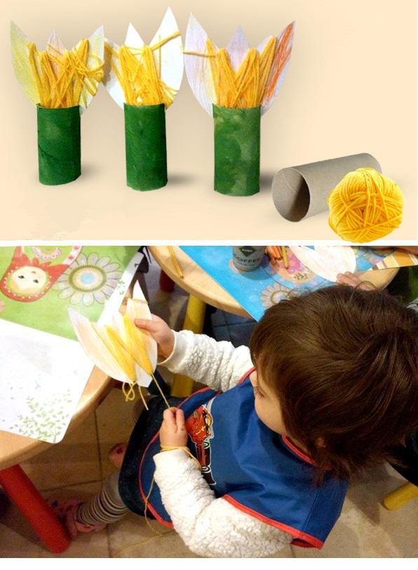 卷纸芯花朵手工