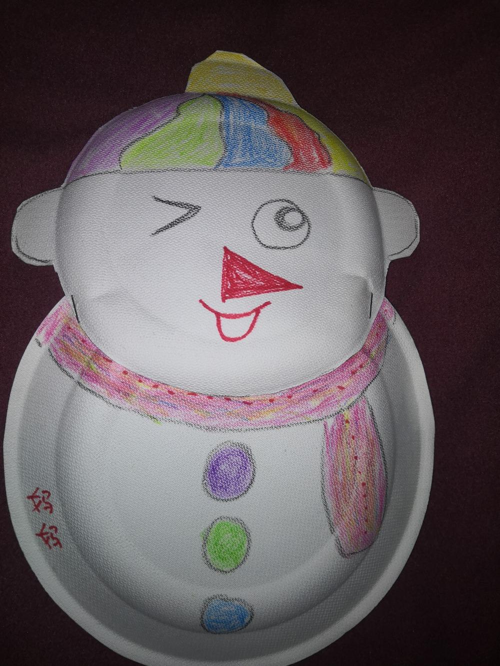 盘子手工之——开心的雪人